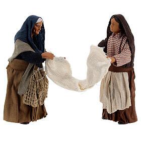 Women with bed sheet Neapolitan nativity 13 cm s1