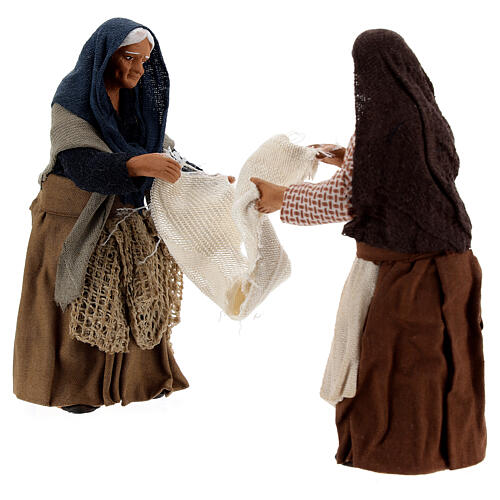 Women with bed sheet Neapolitan nativity 13 cm 3