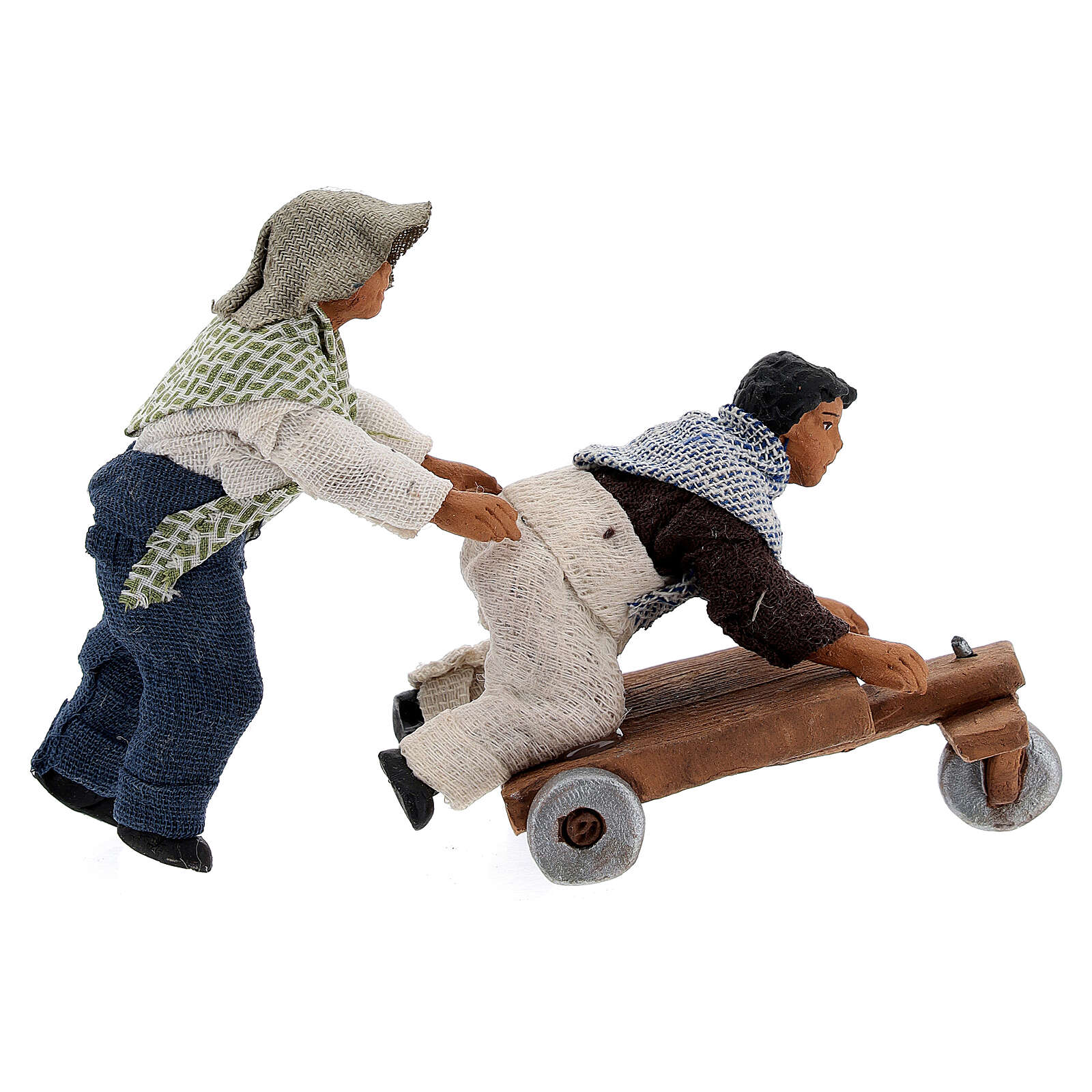 Pair of children playing with cart Neapolitan Nativity Scene figurine 10 cm 4