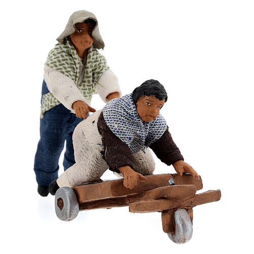 Pair of children playing with cart Neapolitan nativity 10 cm 2