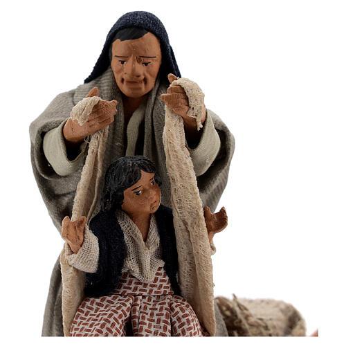 Cena em movimento pai com filha presépio de Nápoles figuras altura média 12 cm 2