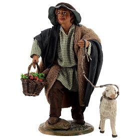 Fanciullo pecora e cestino presepe Napoli 30 cm s1