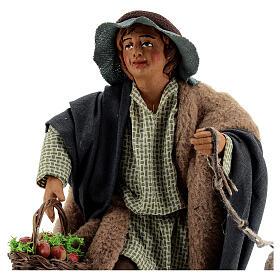 Fanciullo pecora e cestino presepe Napoli 30 cm s2