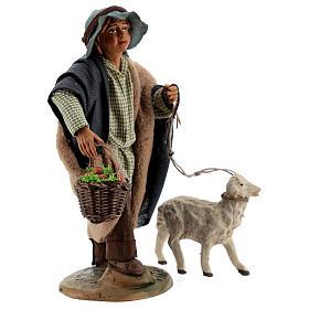 Fanciullo pecora e cestino presepe Napoli 30 cm s4