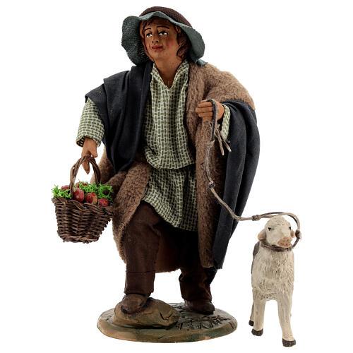 Fanciullo pecora e cestino presepe Napoli 30 cm 1