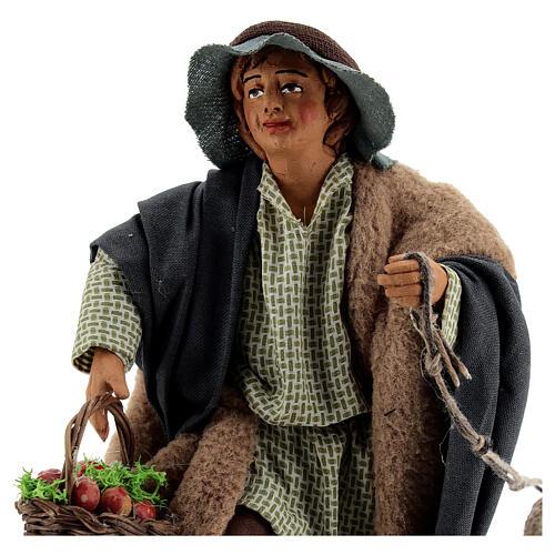 Fanciullo pecora e cestino presepe Napoli 30 cm 2