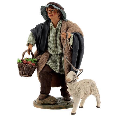 Fanciullo pecora e cestino presepe Napoli 30 cm 3