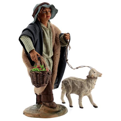 Fanciullo pecora e cestino presepe Napoli 30 cm 4