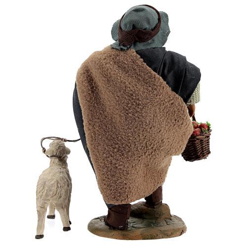 Fanciullo pecora e cestino presepe Napoli 30 cm 5