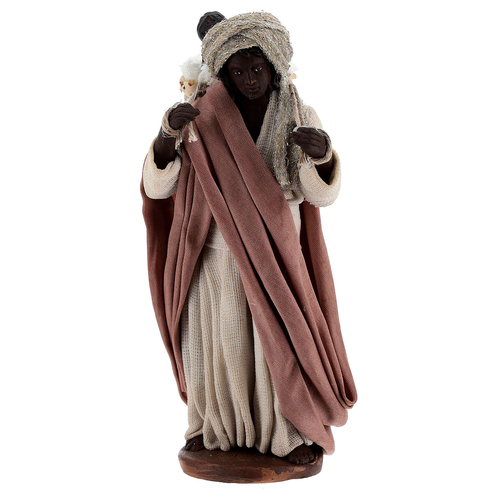 Moor women with child in basket Neapolitan Nativity Scene figurine 13 cm 4
