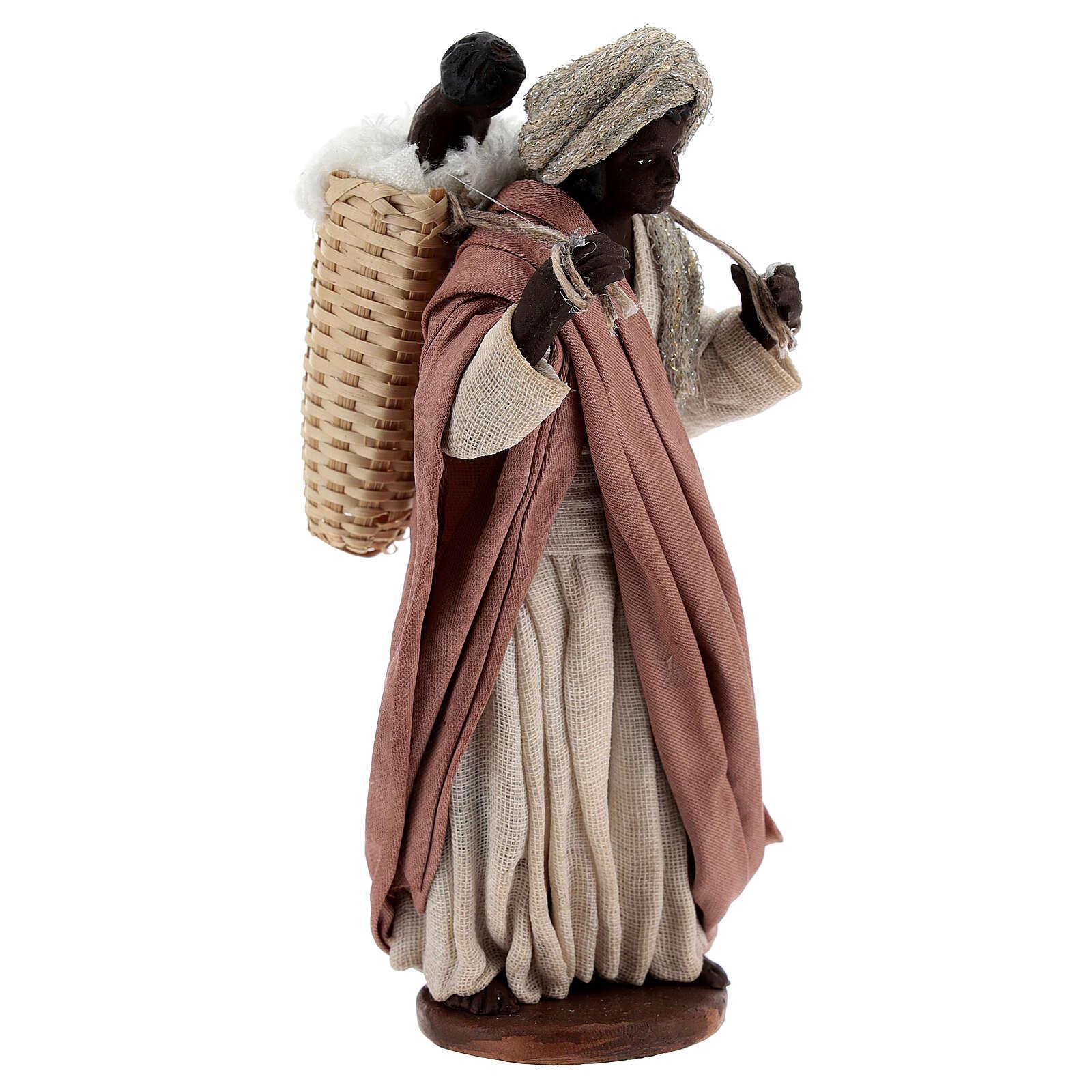 Mulher africana com bebé na cesta para presépio napolitano com figuras de altura média 13 cm 4