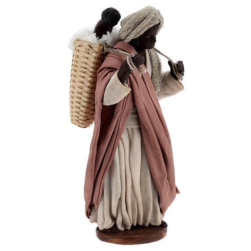 Mulher africana com bebé na cesta para presépio napolitano com figuras de altura média 13 cm 3