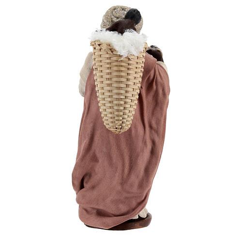 Mulher africana com bebé na cesta para presépio napolitano com figuras de altura média 13 cm 5