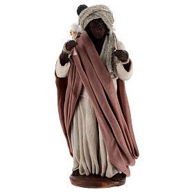 Moor women with child in basket Neapolitan nativity 13 cm s1