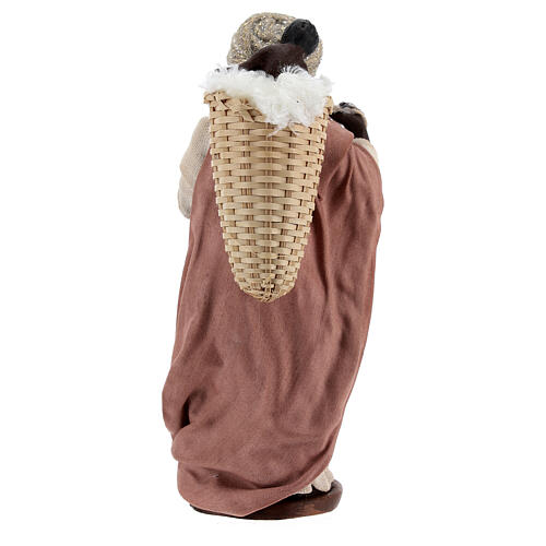 Moor women with child in basket Neapolitan nativity 13 cm 5