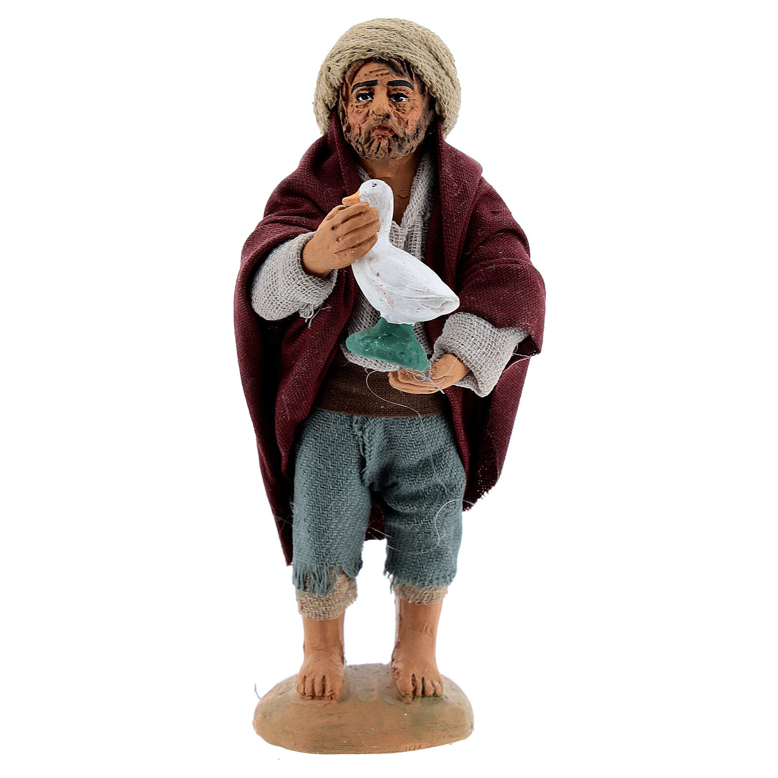 Farmer with goose Neapolitan Nativity Scene figurine 10 cm 4