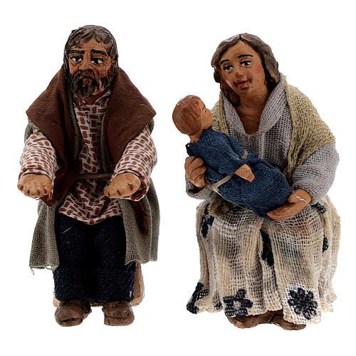 Scène famille et enfant crèche napolitaine 10 cm 2