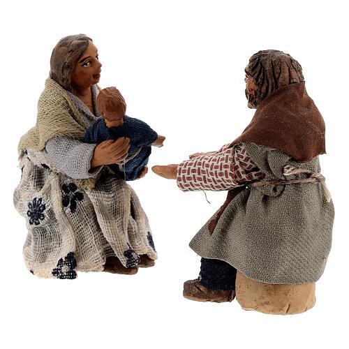 Scène famille et enfant crèche napolitaine 10 cm 3