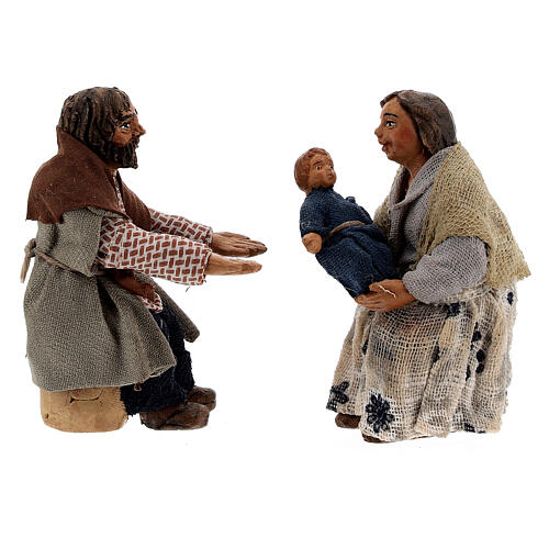 Scène famille et enfant crèche napolitaine 10 cm 5