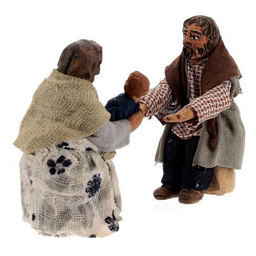 Cena família com criança para presépio napolitano com figuras de altura média 10 cm 4