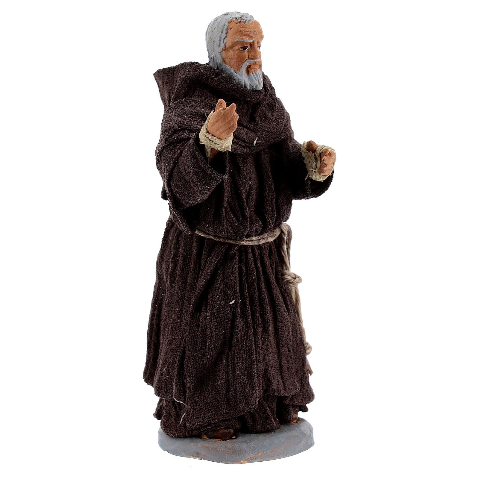 Father Pio statue in terracotta, Neapolitan Nativity Scene figurine 10 cm 4