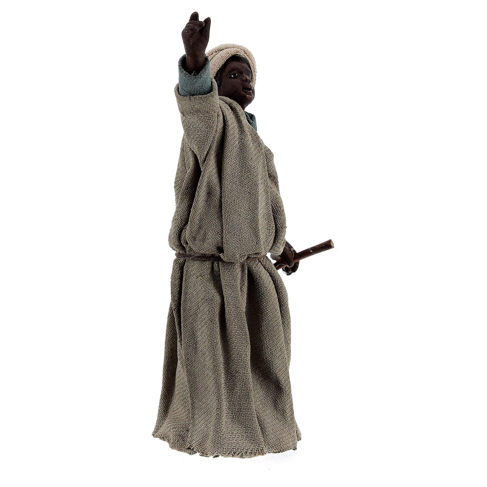 Pastore moro che indica presepe Napoli 13 cm 4
