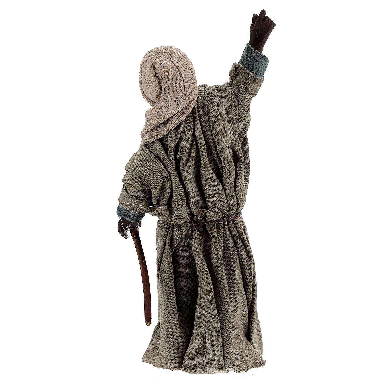 Pastor africano apontando para o céu presépio napolitano com figuras de altura média 13 cm 4