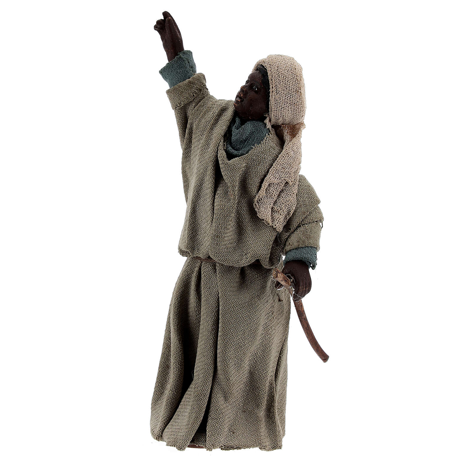 Moor shepherd pointing up Neapolitan nativity 13 cm 4