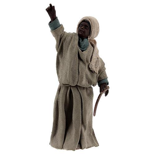Moor shepherd pointing up Neapolitan nativity 13 cm 1