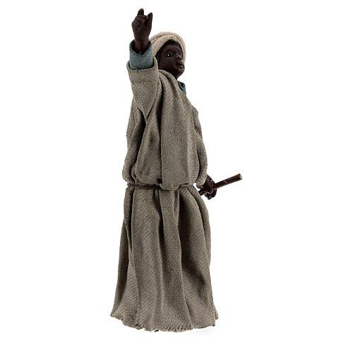 Moor shepherd pointing up Neapolitan nativity 13 cm 2