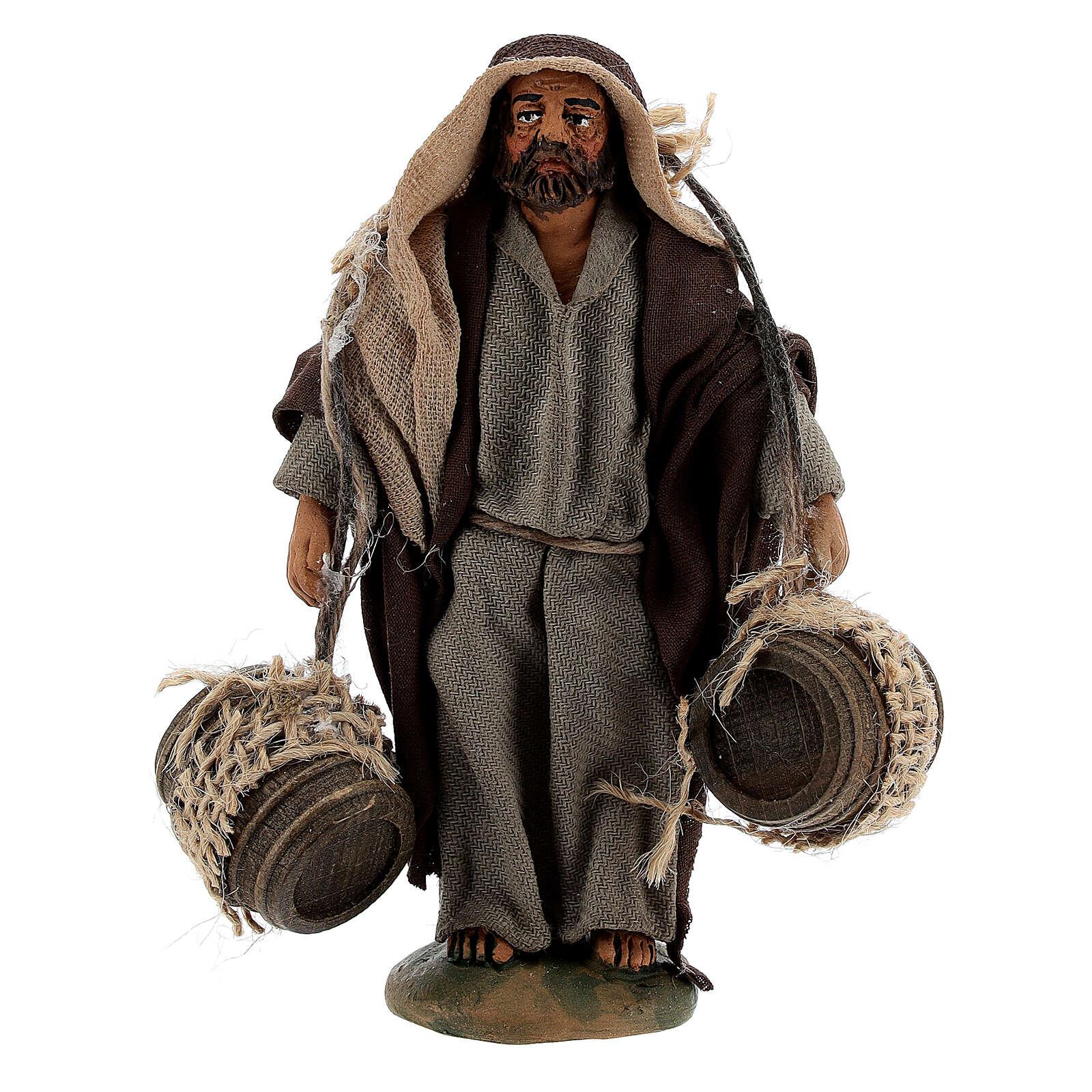 Pastor carregando barris presépio napolitano com figuras de altura média 10 cm 4