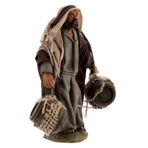 Pastor carregando barris presépio napolitano com figuras de altura média 10 cm 3