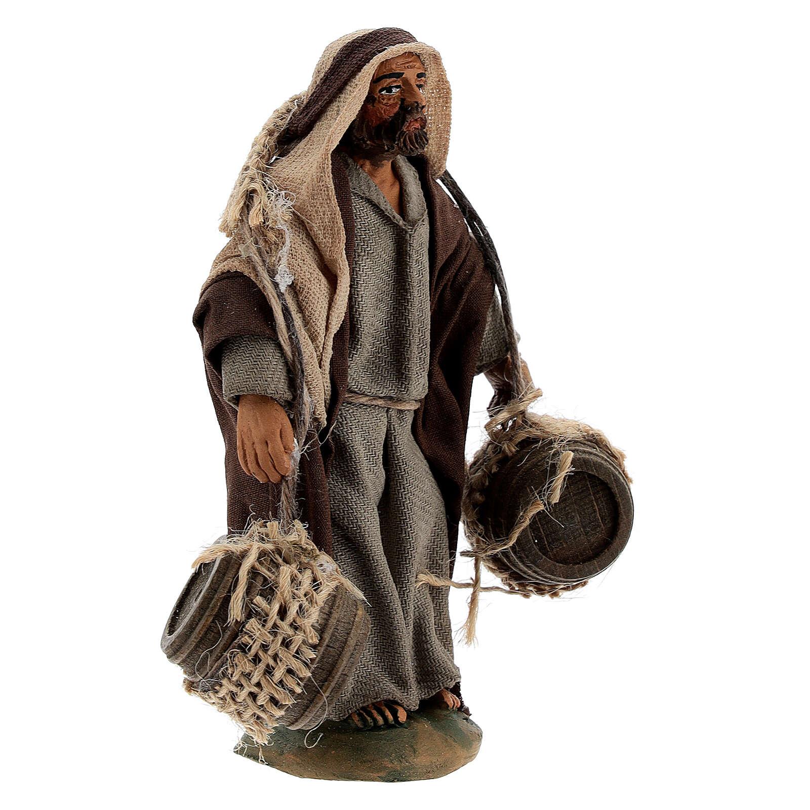 Shepherd with hanging barrels Neapolitan nativity 10 cm 4