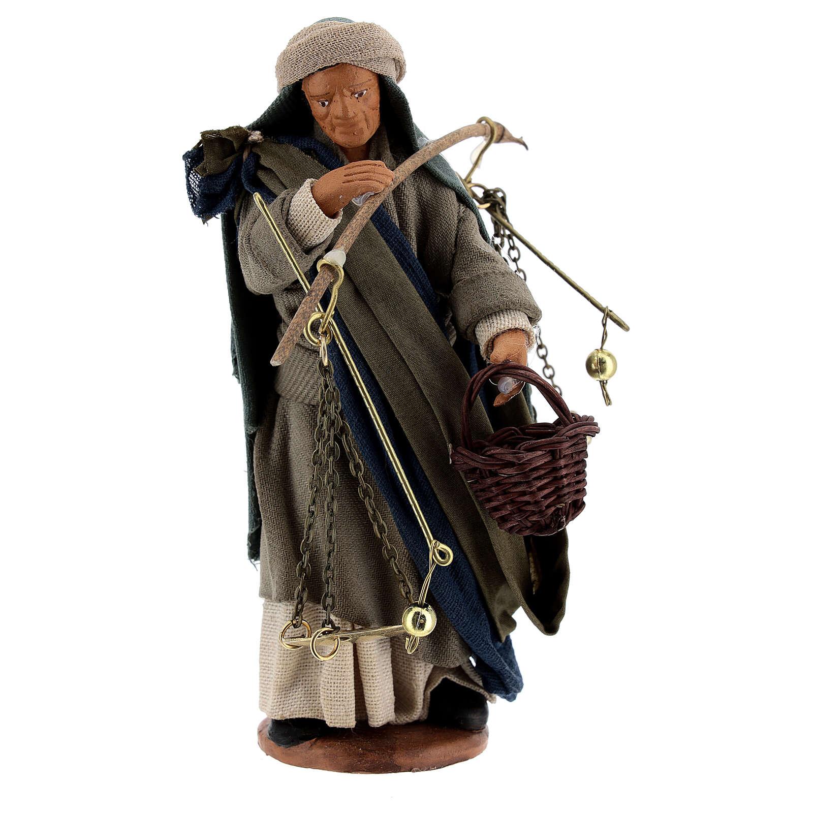 Pastor com balança e cesto para presépio napolitano com figuras de altura média 13 cm 4