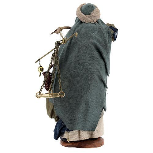 Pastor com balança e cesto para presépio napolitano com figuras de altura média 13 cm 5