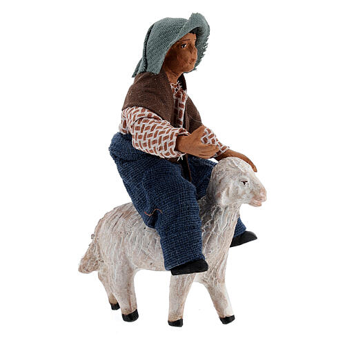 Jeune garçon sur mouton crèche napolitaine 10 cm 3