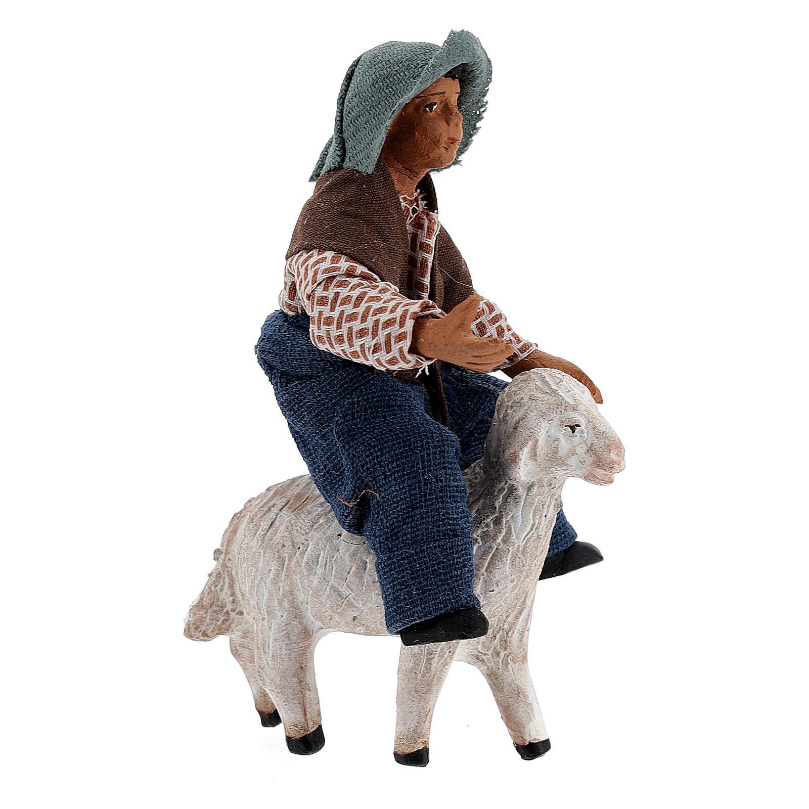 Boy on sheep Neapolitan nativity 10 cm 4