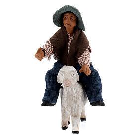 Boy on sheep Neapolitan nativity 10 cm s1