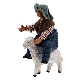 Boy on sheep Neapolitan nativity 10 cm s2