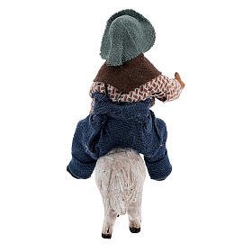 Boy on sheep Neapolitan nativity 10 cm s4