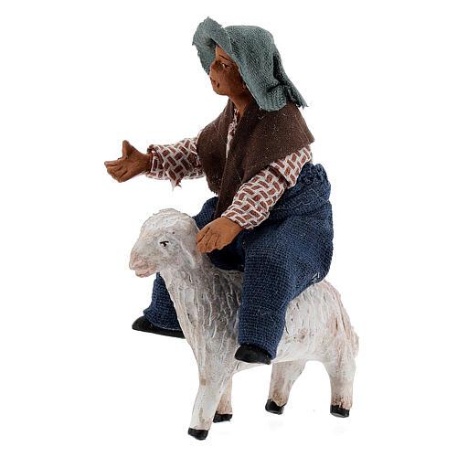 Boy on sheep Neapolitan nativity 10 cm 2