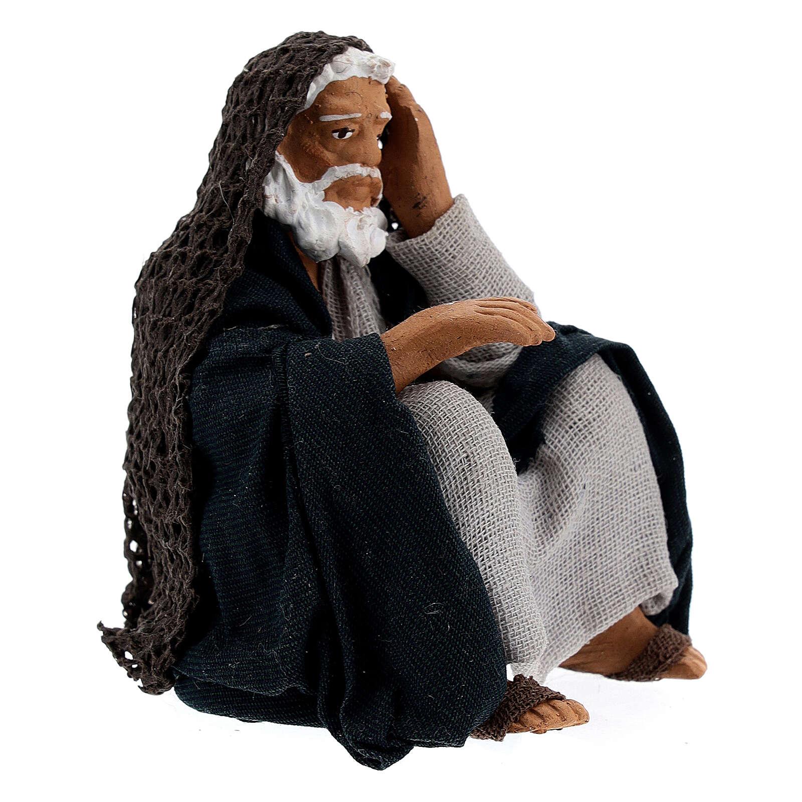 Old man resting Neapolitan Nativity Scene figurine 13 cm 4