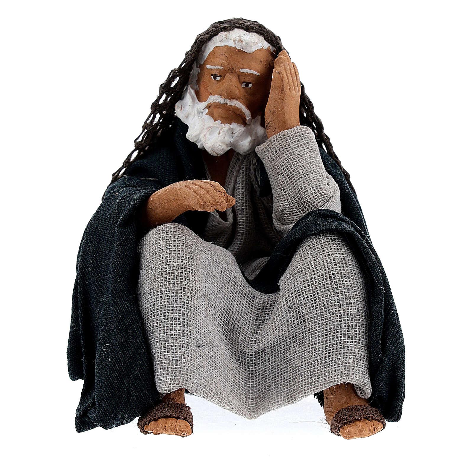 Old man resting Neapolitan nativity 13 cm 4