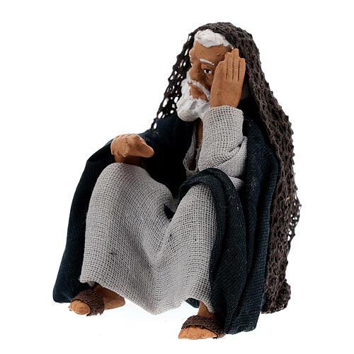 Old man resting Neapolitan nativity 13 cm 2