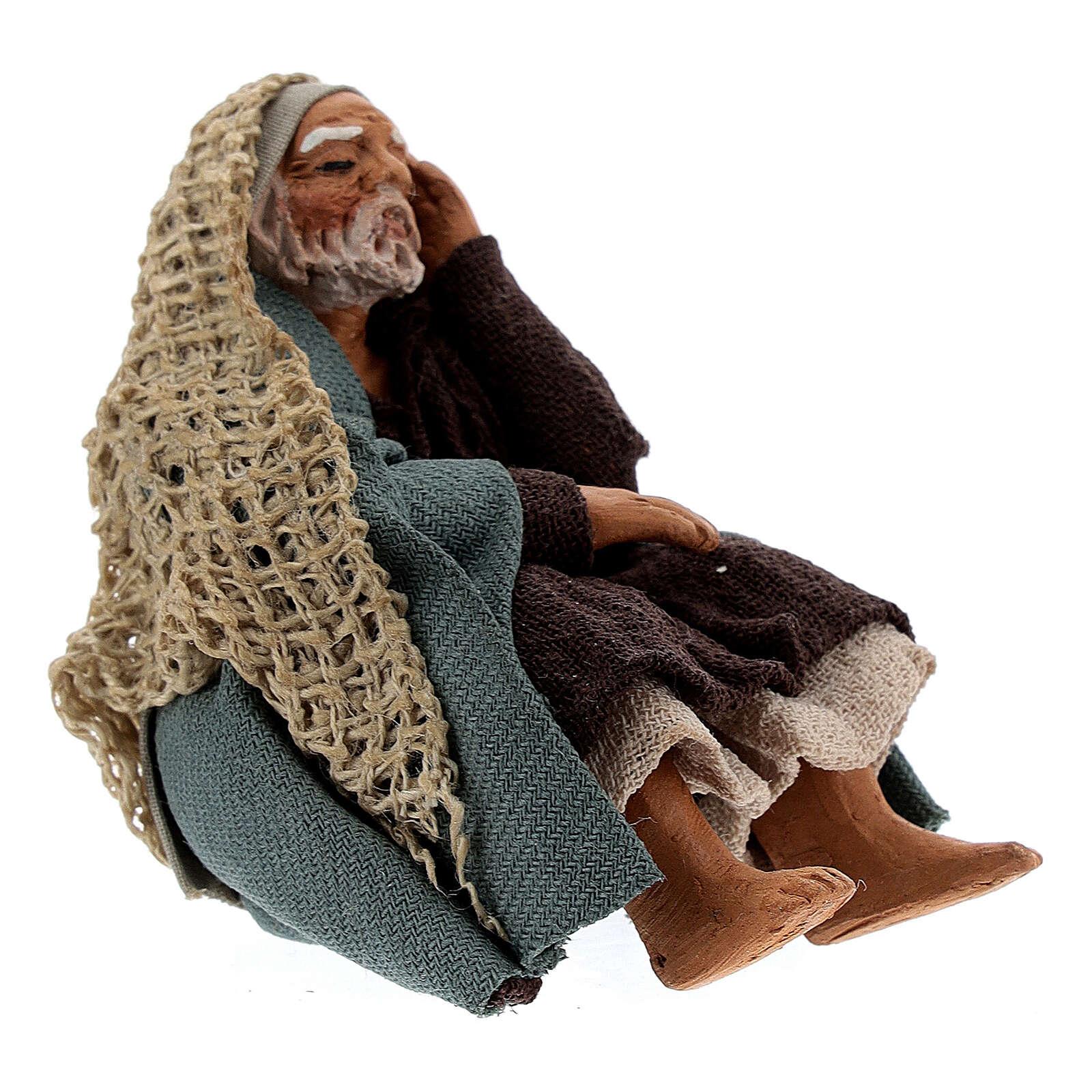 Pastor descansando para presépio napolitano com figuras de altura média 10 cm 4