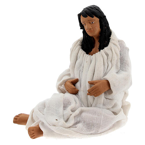 Mulher dando à luz figura para presépio napolitano com personagens de altura média 13 cm 2