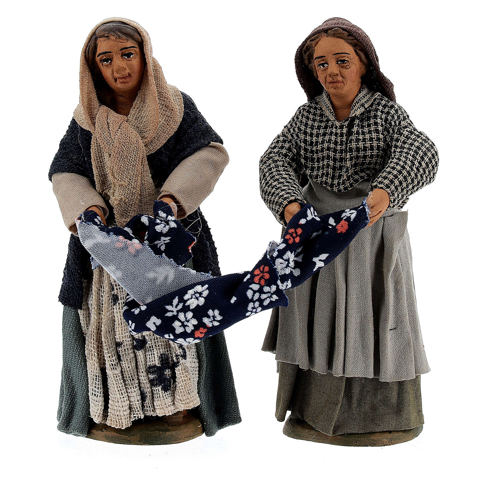 Women folding clothes Neapolitan Nativity Scene figurines 10 cm 4