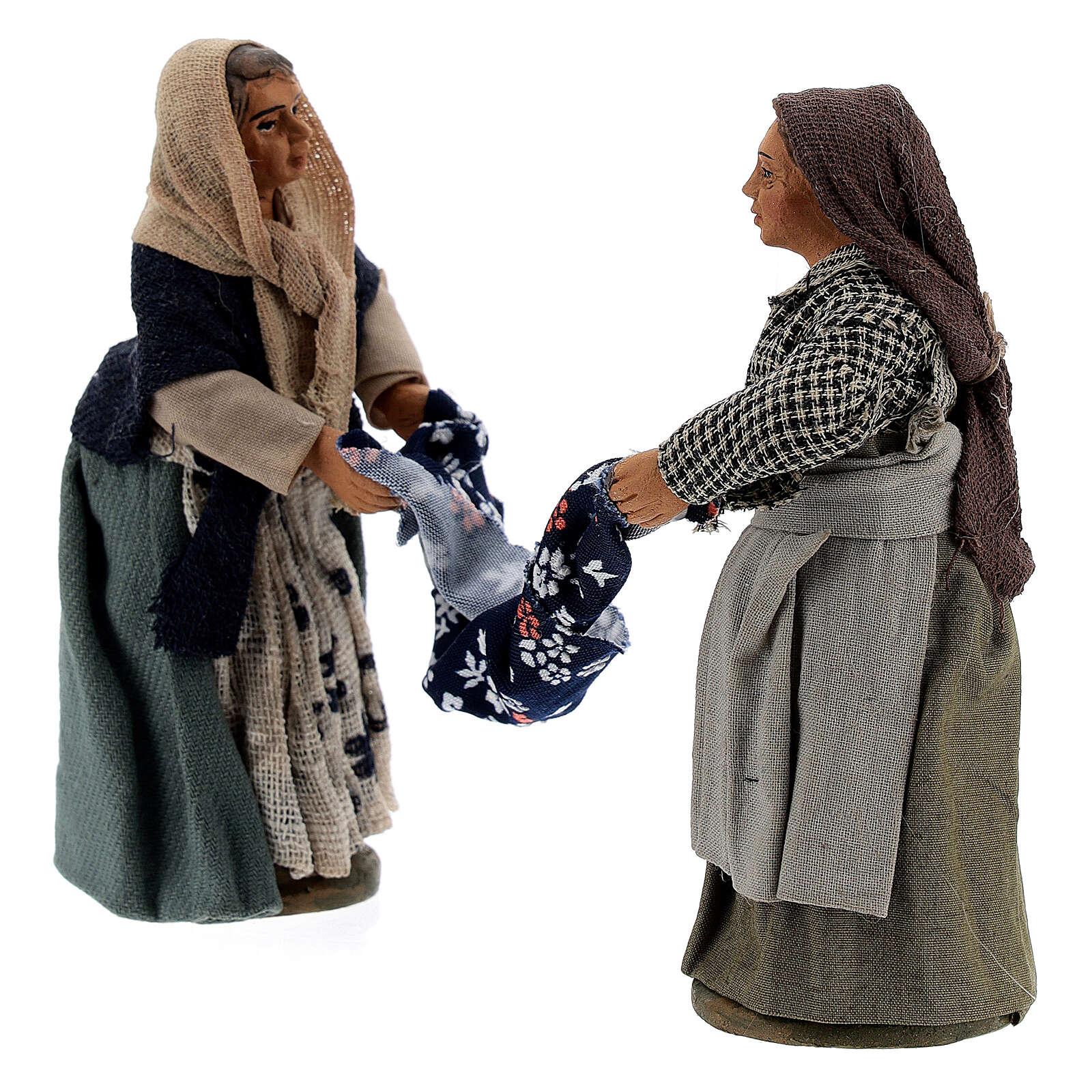 Femmes qui plient un drap crèche Naples 10 cm 4