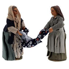 Femmes qui plient un drap crèche Naples 10 cm s1
