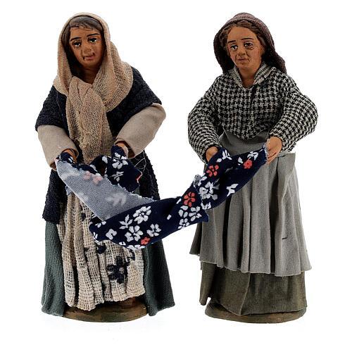 Femmes qui plient un drap crèche Naples 10 cm 2